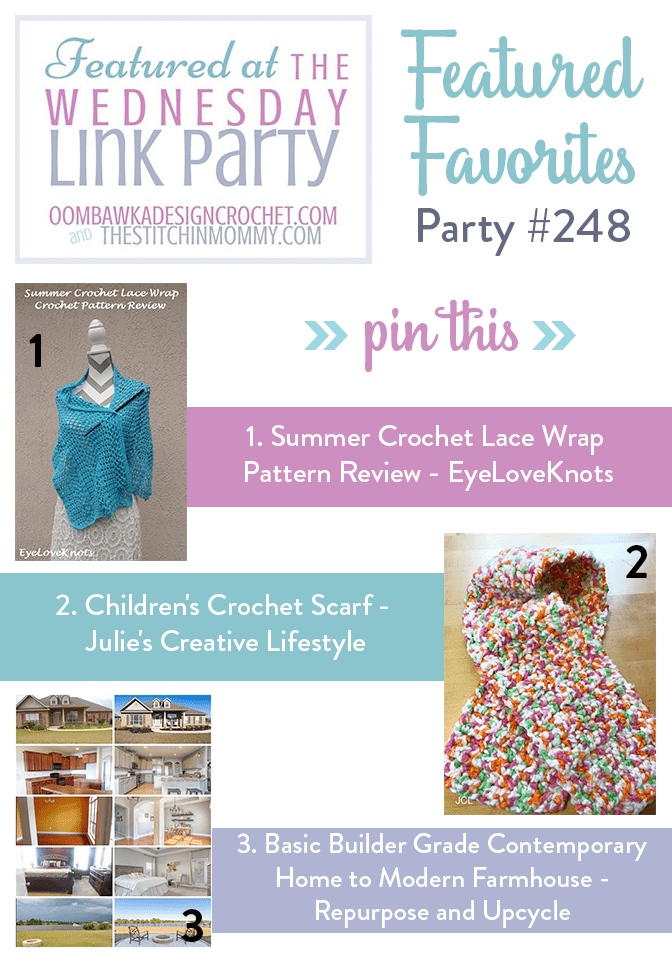 This Week at Party 248 We Feature Projects from EyeLoveKnots, Julie's Creative Lifestyle and Repurpose and Upcycle!