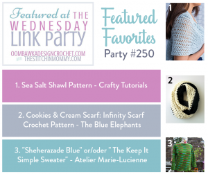 Wednesday Link Party 250 We Feature Projects from Crafty Tutorials, The Blue Elephants and Atelier Marie-Lucienne
