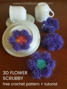 Featured at Wednesday Link Party 249: 3D Flower Scrubby - Free Crochet Pattern and Tutorial by My Hobby is Crochet