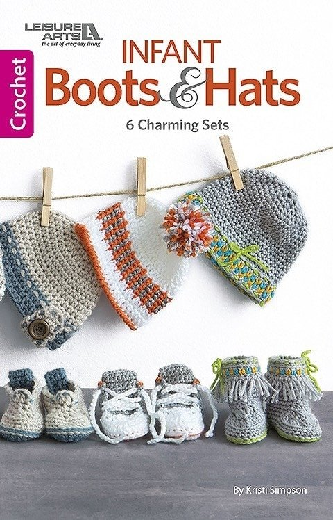 Cover. Boots and Hats. 6 Charming Sets. Leisure Arts. Book Review. Oombawka Design.