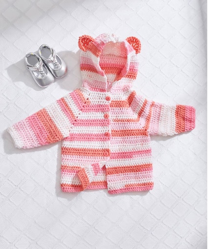 Baby Bear Crochet Hoodie. Red Heart Yarn. Crochetyay June Project. Oombawka Design.
