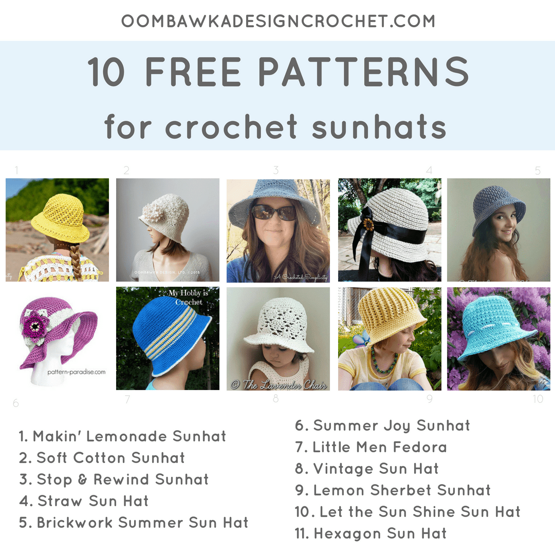 Crochet Pattern Roundup of 11 free Sunhat patterns. Oombawka Design