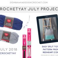 Easy Split Tote Pattern. Red Heart. July Crochetyay Project. Oombawka Design FB