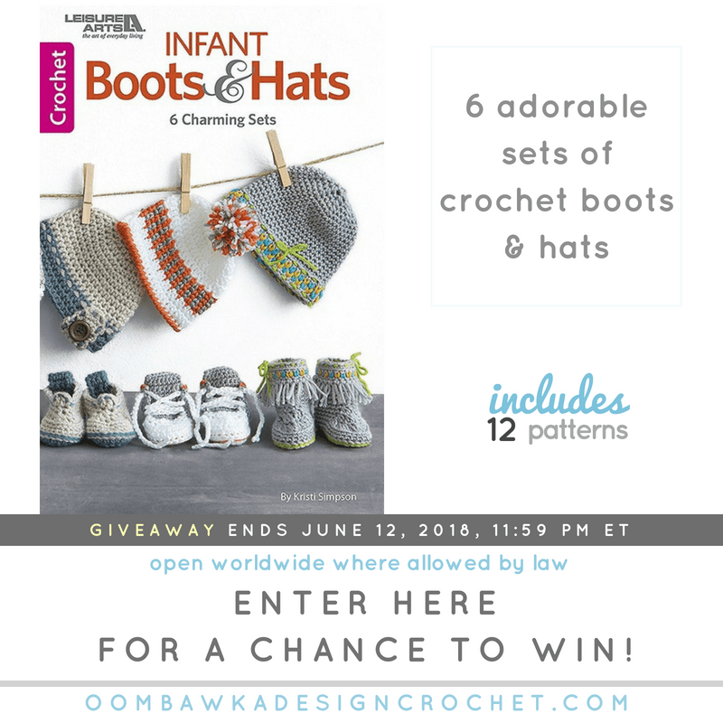 Infant Boots and Hat eBook Giveaway. Leisure Arts. Oombawka Design Crochet fb
