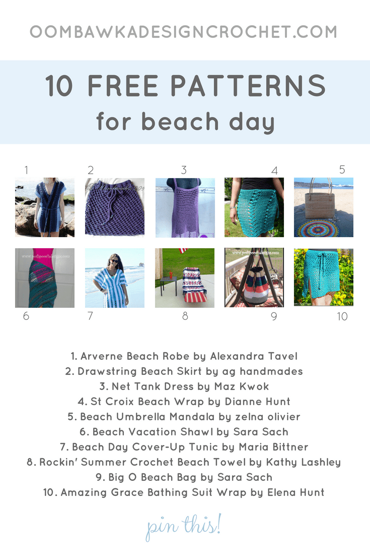 10 Patterns for Beach Day. Pattern Roundup. Oombawka Design Crochet