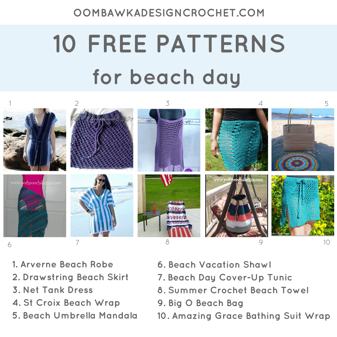 10 Patterns for Beach Day. Pattern Roundup. fb Oombawka Design Crochet