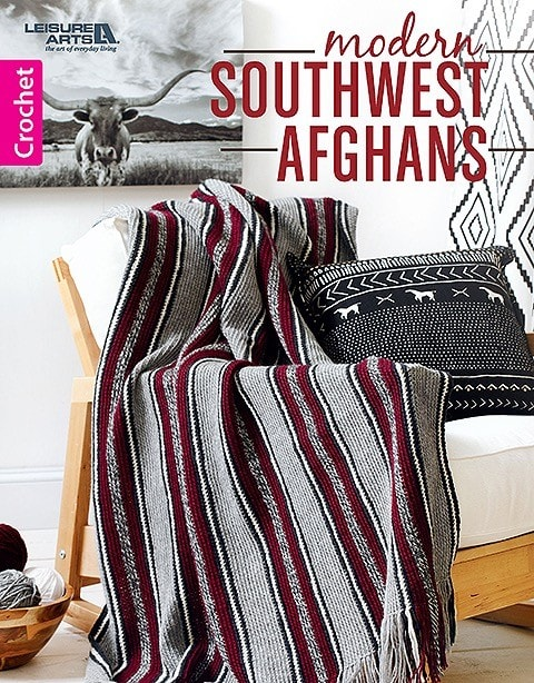 Cover. Modern Southwest Afghans. Leisure Arts. Book Review. Oombawka Design Crochet.