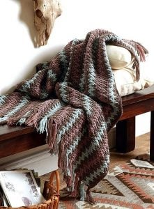 Canyon Ripple. Modern Southwest Afghans. Leisure Arts. Book Review. Oombawka Design Crochet.