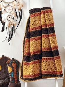 Gold Strike. Modern Southwest Afghans. Leisure Arts. Book Review. Oombawka Design Crochet.