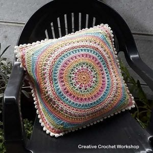 Featured at Wednesday Link Party 253: Scrapsadelic Groovy Cushion Pattern by Joanita Theron at Creative Crochet Workshop