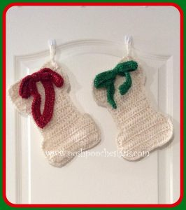Dog Bone Christmas Stocking Pattern. Posh Pooch Designs. Featured at Wednesday Link Party 254 at Oombawka Design Crochet