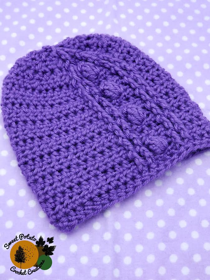Newborn Purple Click For Babies Hat Pattern for CLICK for Babies Campaign by Sweet Potato Crochet Creations 2