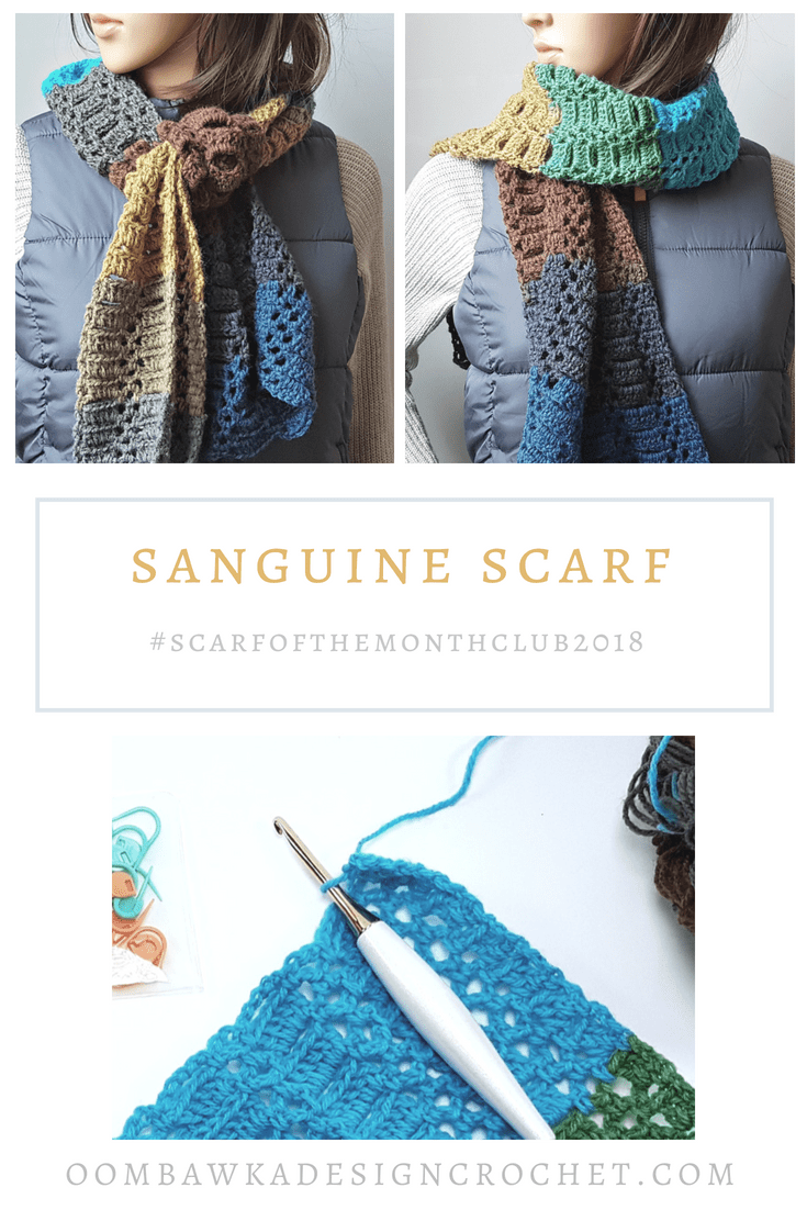 Welcome back to the July Scarf of the Month Club!  This post includes my Sanguine Scarf Pattern. It also has the links to the other 2 free crochet patterns for this month\'s #scarfofthemonthclub2018 CAL.