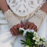 Wrapped in Lace Fingerless Gloves by Kirsten Holloway