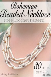 Featured at Wednesday Link Party 253: Bohemian Beaded Necklace Pattern by Winding Road Crochet