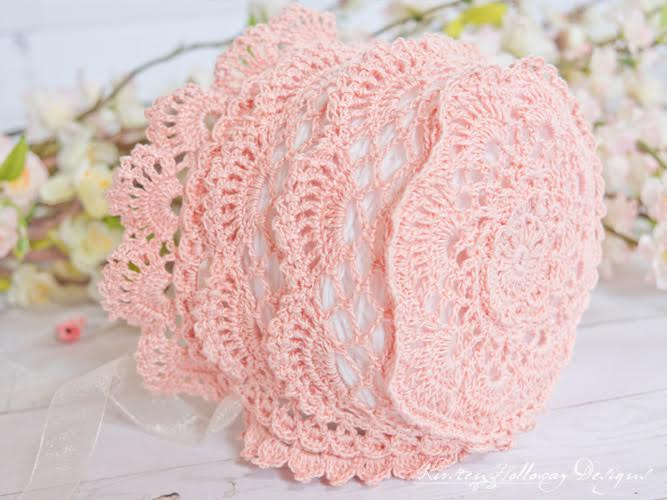 Victoria Rose Baby Bonnet Pattern from Kirsten Holloway Designs. Guest Post Oombawka Design Crochet