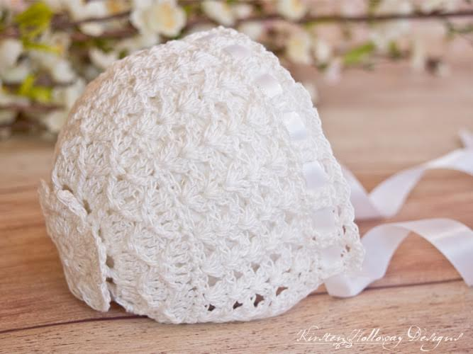 Lavender Blue Baby Bonnet in Lace by Kirsten Holloway Designs. Guest Post for Oombawka Design.