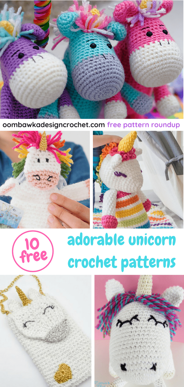 10 Adorable Unicorn Crochet Patterns Roundup at Oombawka Design Crochet