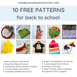 10 Free Crochet Patterns for Back To School. Oombawka Design Crochet Roundup of Free Patterns B