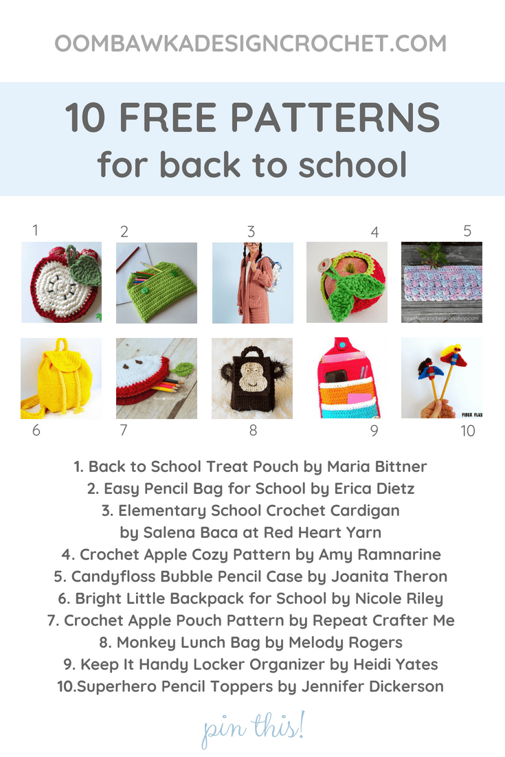 10 Free Crochet Patterns for Back To School. Oombawka Design Crochet Roundup of Free Patterns
