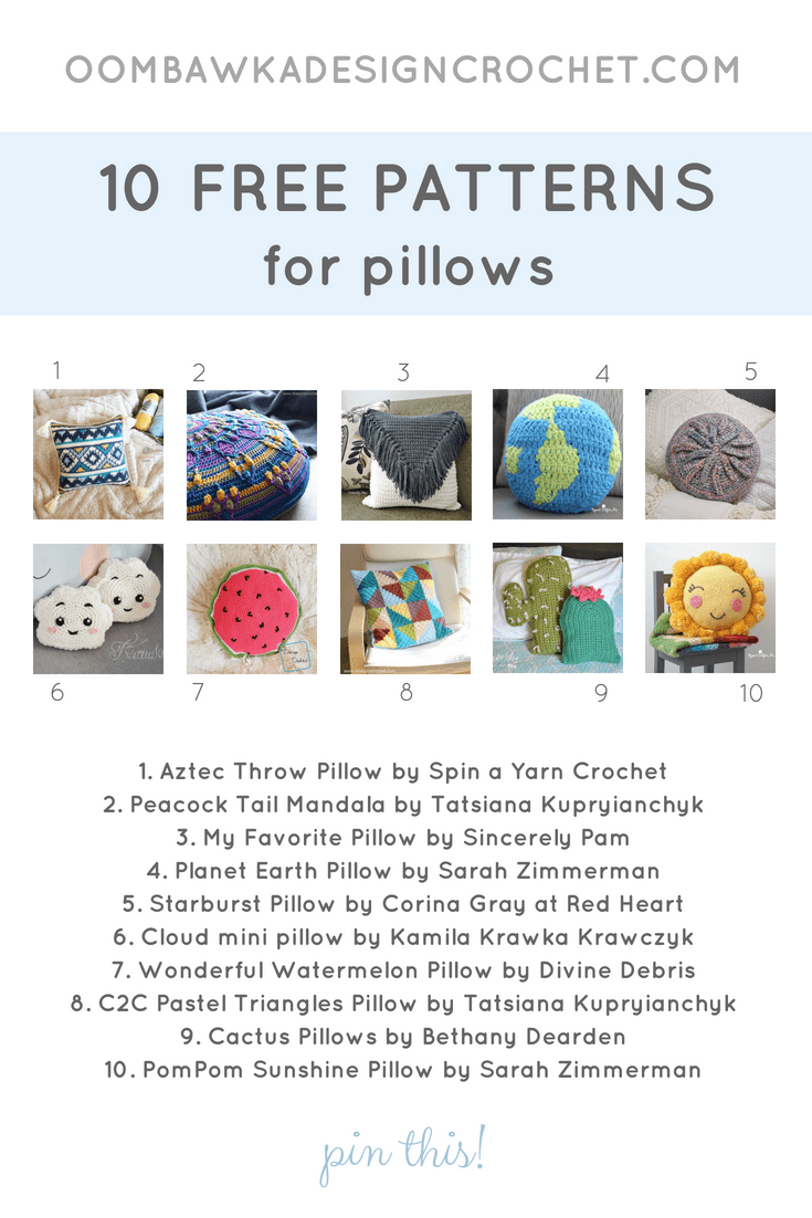 10 Free Patterns for Pillows. Pattern Roundup. FB Oombawka Design