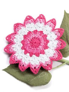 Floral Burst Fabulous Floral Dishcloths. 12 Pretty Crochet Patterns from Annie's Craft Store. Book Review by Oombawka Design Crochet.