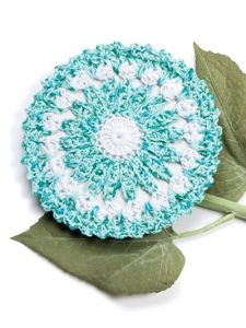 Aquamarine Floral Fabulous Floral Dishcloths. 12 Pretty Crochet Patterns from Annie's Craft Store. Book Review by Oombawka Design Crochet.