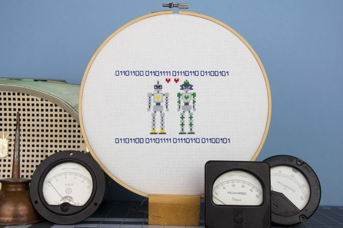 Robots in Love. Improper Cross Stitch. Book Review Oombawka Design Crochet.