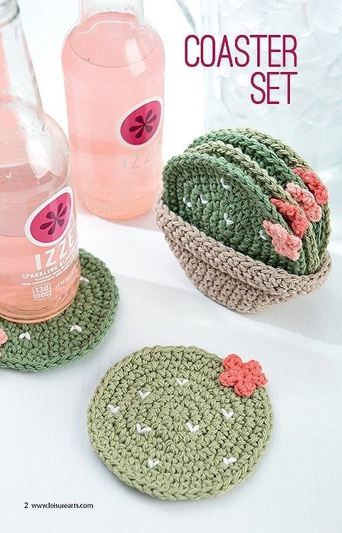 Coaster Set. Make a Crochet Garden. Leisure Arts. Book Review by Oombawka Design Crochet.
