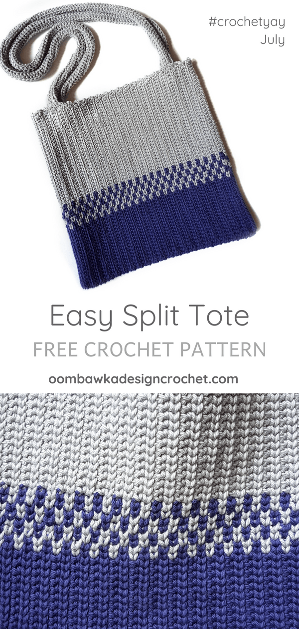 Crochetyay July. Easy Split Tote Crochet Pattern. Oombawka Design Crochet