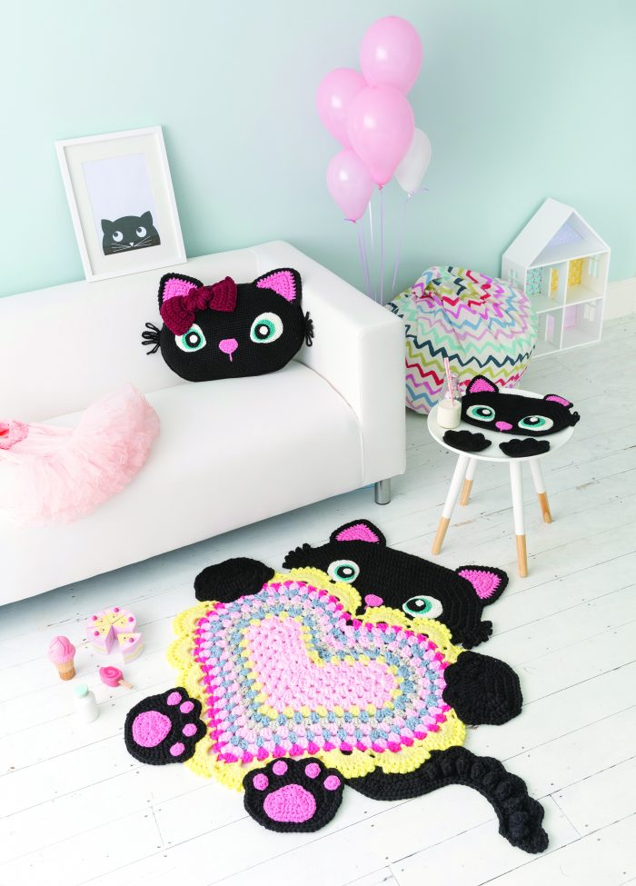 Sassy the Kitty Cat Pattern. Crochet Animal Rugs. Sew and So. Ira Rott. Book Review by Oombawka Design Crochet