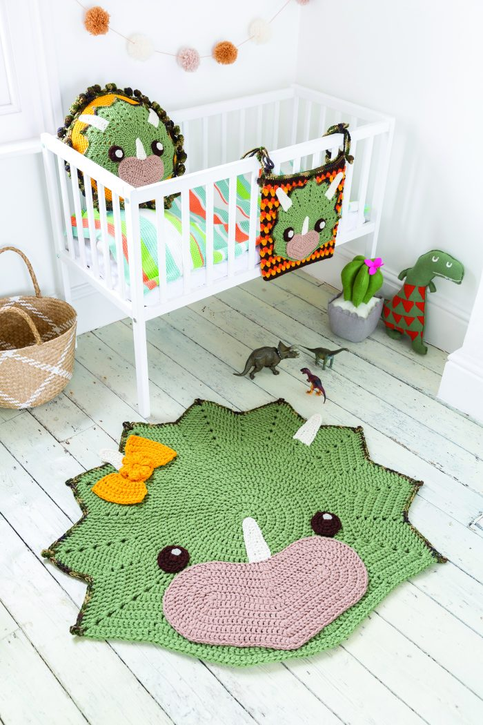 Top the Dinosaur. Crochet Animal Rugs. Sew and So. Ira Rott. Book Review by Oombawka Design Crochet