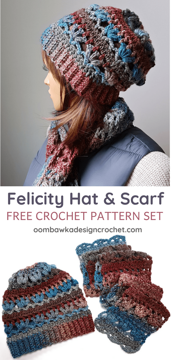 Felicity Hat and Scarf Pattern Set. Oombawka Design Crochet Pin