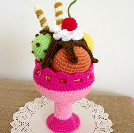 Ice Cream Sundae Amigurumi Crochet Pattern - Liliacraftparty