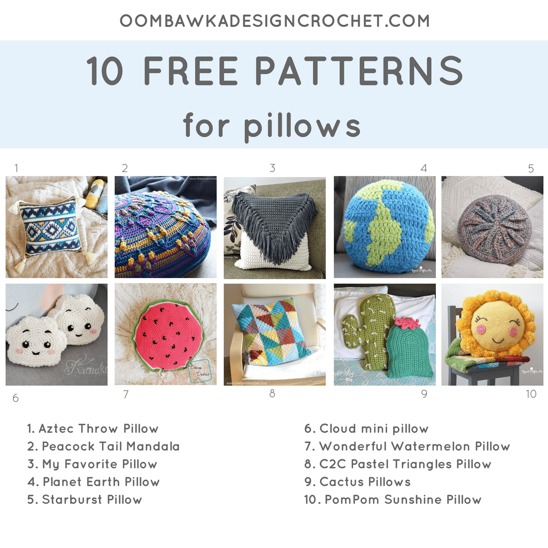 b840bdd0f6850 Including 10 Free Patterns for Pillows. Pattern Roundup. FB Oombawka Design