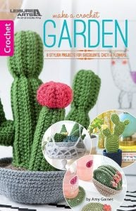 Make a Crochet Garden. Cover Image. Leisure Arts. Book Review by Oombawka Design Crochet.
