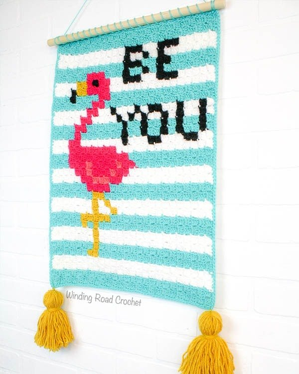 Flamingo Wallhanging Free Corner To Corner Crochet Graph by Winding Road Crochet
