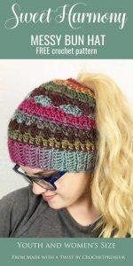 Sweet Harmony Messy Bun Hat by Crochetpreneur