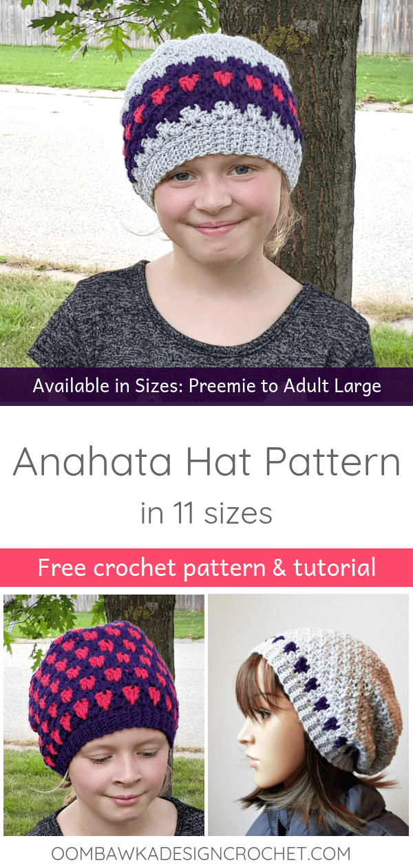 Anahata Hat Pattern in 11 Sizes. Free Pattern from Oombawka Design Crochet