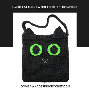 Black Cat Halloween Trick-or-Treat Bag by Oombawka Design Crochet Halloween CAL 2018