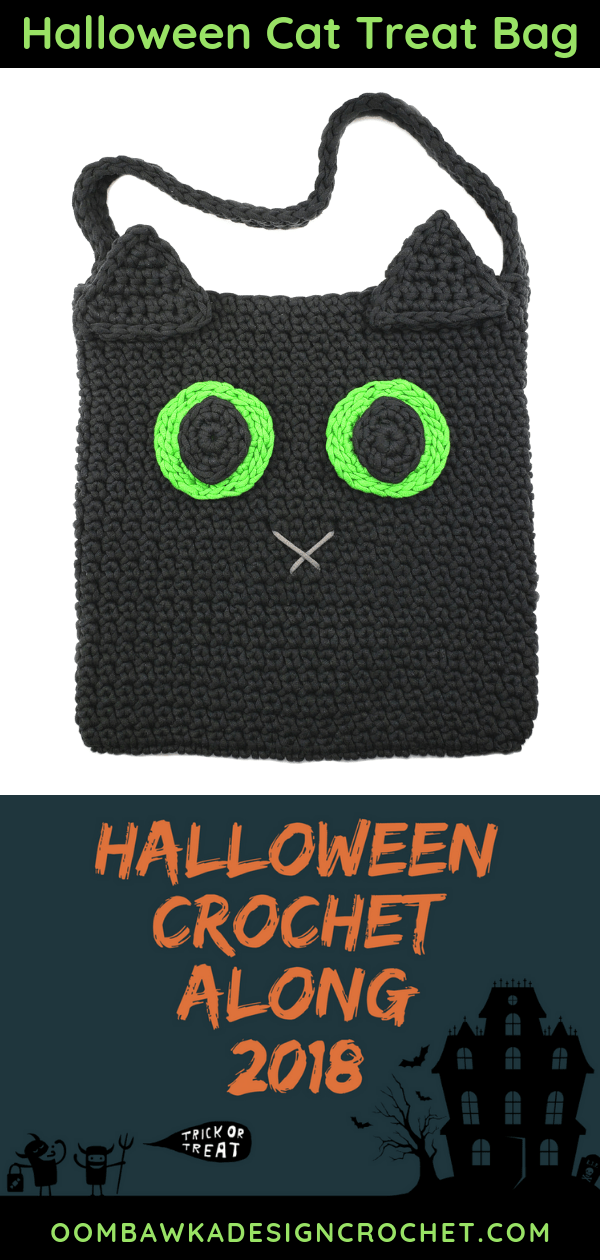 Black Cat Treat Bag Halloween CAL 2018 Oombawka Design Crochet
