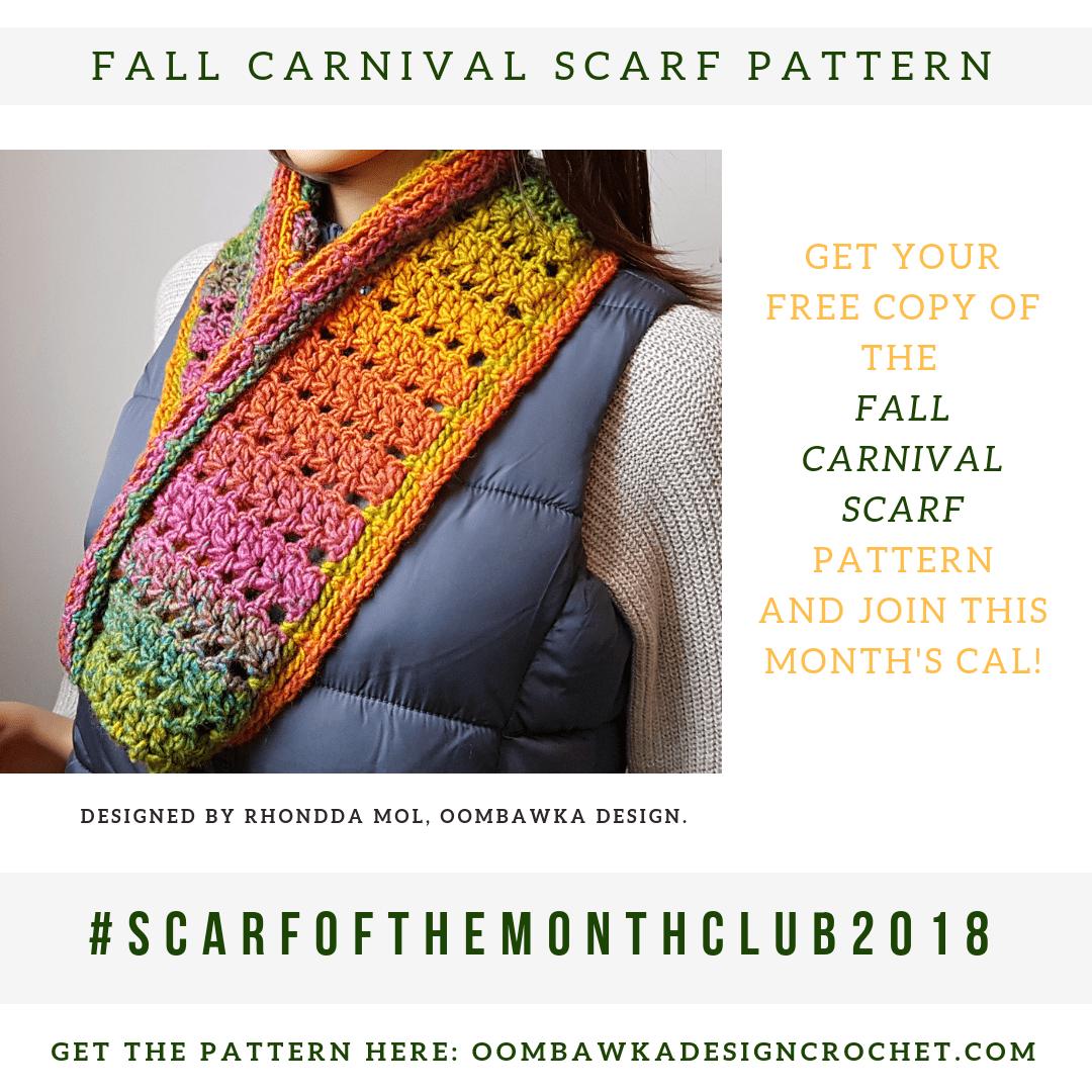 Fall Carnival Scarf Pattern from Oombawka Design Crochet Scarfofthemonthclub2018 September 3