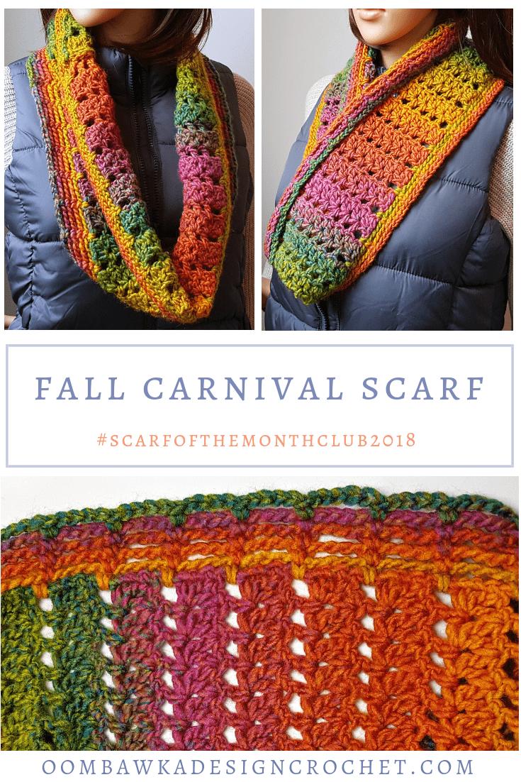 Fall Carnival Scarf Pattern from Oombawka Design Crochet Scarfofthemonthclub2018 September