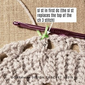 Join into the first dc of the round not the ch3 image 2. Oombawka Design Crochet