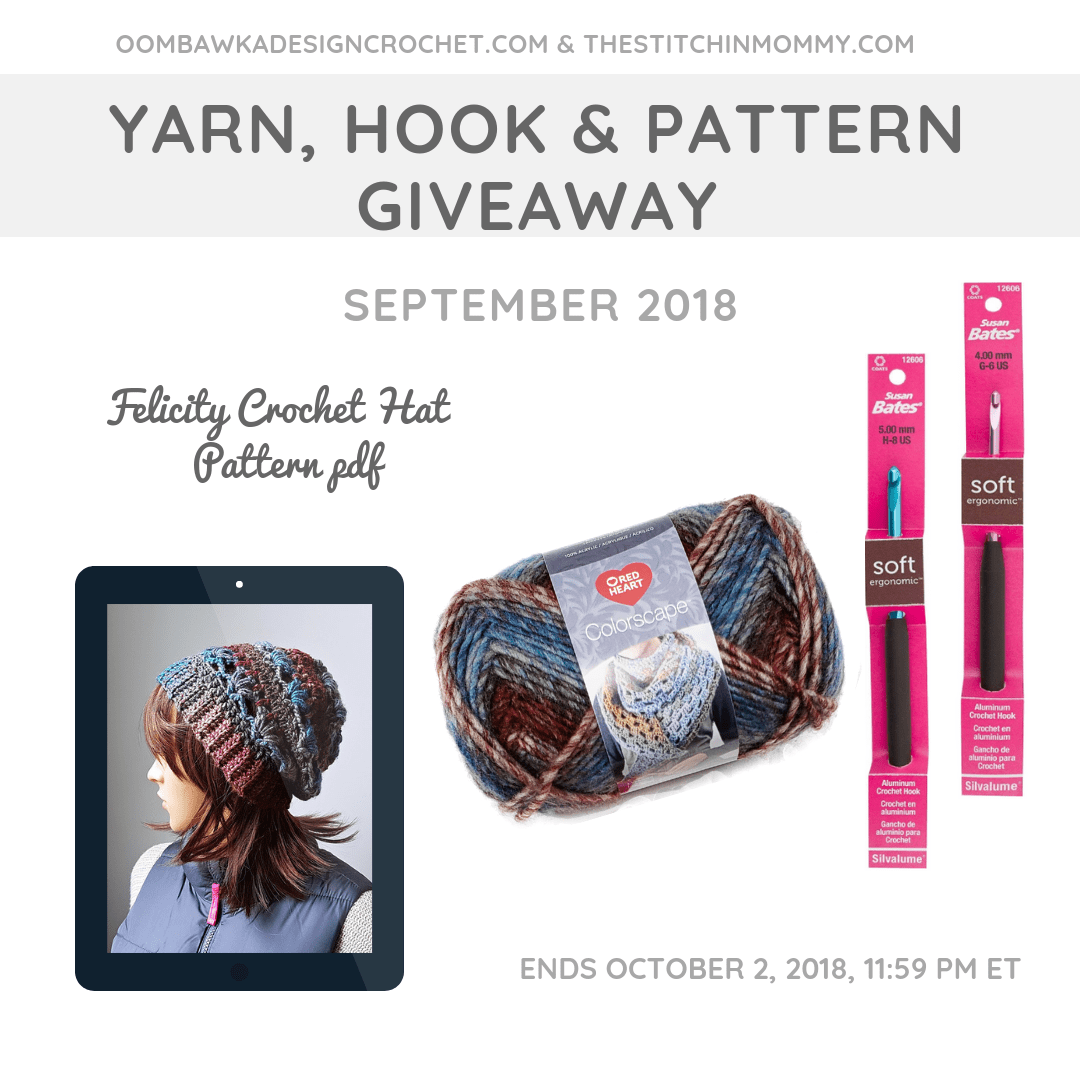 September Yarn Hook and Pattern Giveaway Oombawka Design Crochet The Stitchin Mommy FB