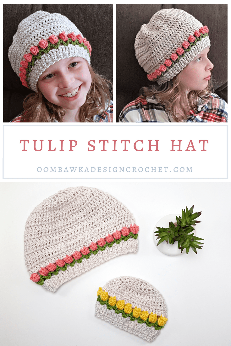 Tulip Stitch Crochet Hat Pattern and Tutorial. Sizes Preemie to Adult Large. Oombawka Design Crochet