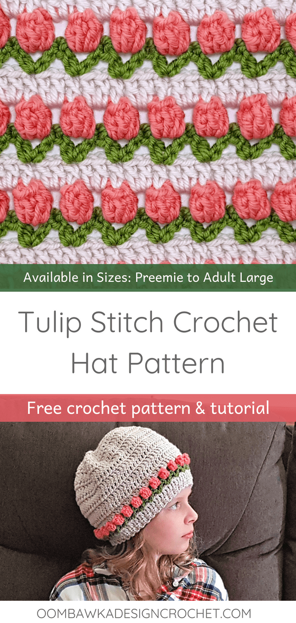 Tulip Stitch Crochet Hat Pattern in Sizes Preemie to Adult. Free Patterns from Oombawka Design Crochet. Video Tutorial is Available