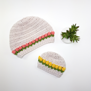 Tulip Stitch Crochet Hat Pattern. Sizes Preemie to Adult Large. Oombawka Design Crochet