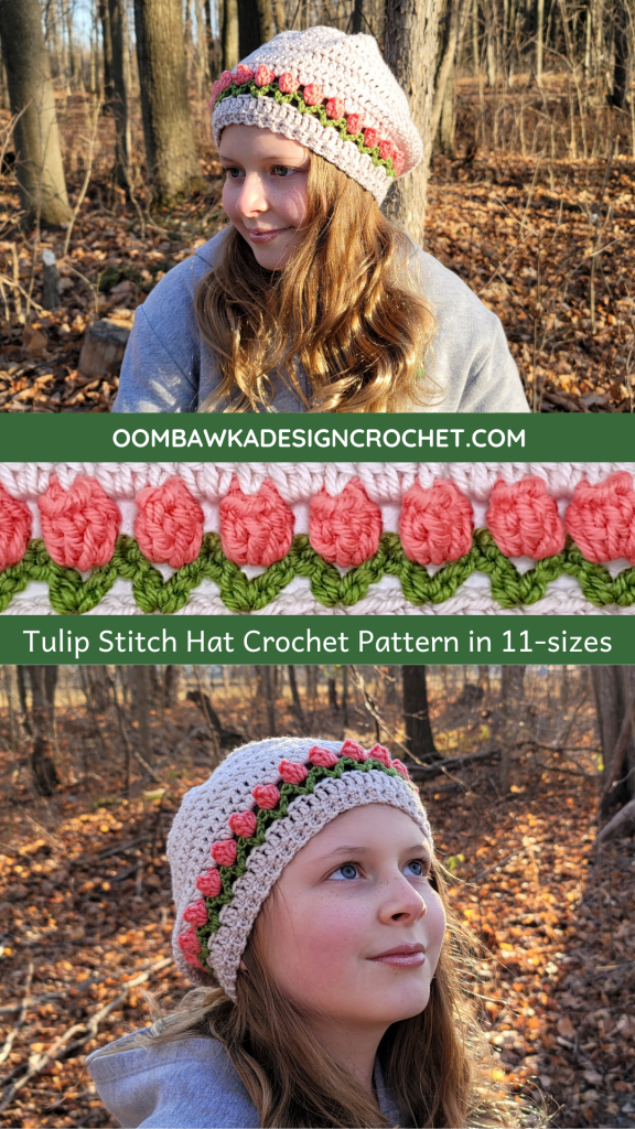 Tulip Stitch Hat Pattern in 11 Sizes - Rhondda Mol - Oombawka Design