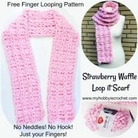 Strawberry Waffle - Loop it Scarf - Free Finger Looping Pattern from My Hobby is Crochet